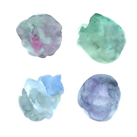 Watercolor hand painted decorative textured spots in pastel blue and turquoise colorы. Bright modern style abstract collection. Real trendy paint streak and  brush strokes isolated on white