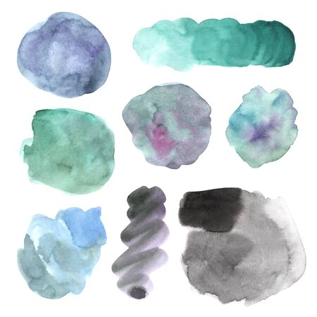 Watercolor and ink hand painted decorative textured spots in gray and turquoise colorы. Bright modern style abstract collection. Real trendy paint texture streak strokes isolated on white Banco de Imagens