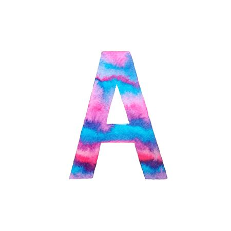 Hand painted watercolor letter A in bright violet, blue and pink colors. Liquid artistic abc element isolated on white perfect for print poster and scrapbook