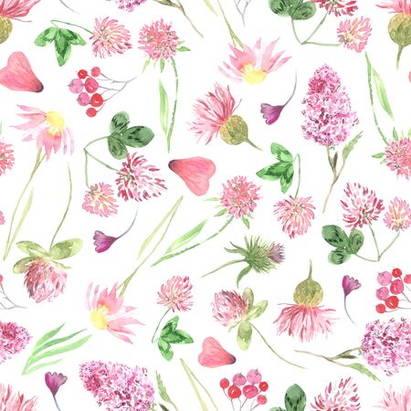 Seamless pattern with watercolor hand painted wildflowers, field plants, garden herbs, delicate leaves and branches, wild meadow flowers and grass. Modern watercolor style floral background
