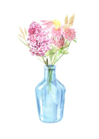 Watercolor painted wildflowers, field plants, garden herbs, delicate leaves and branches, wild meadow flowers  isolated on white. Modern watercolor style floral bouquet in glass jar