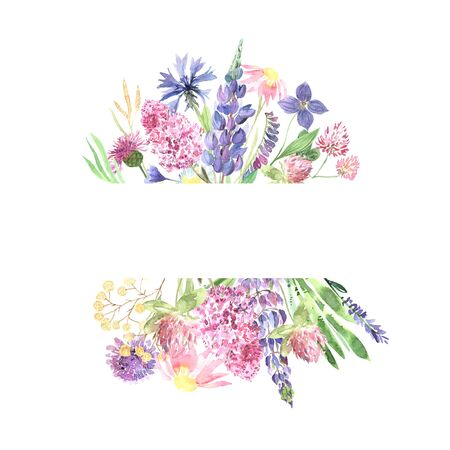 Watercolor hand painted wildflowers, field plants, garden herbs, delicate leaves and branches, wild meadow flowers and grass isolated on white. Modern watercolor style floral frame template Banco de Imagens