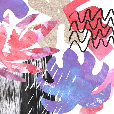 Abstract collage of pasted hand painted paper and floral elements, different textures, doodle. Raster illustration of a modern style. Artistic funky background for print, poster, invitation, flyer