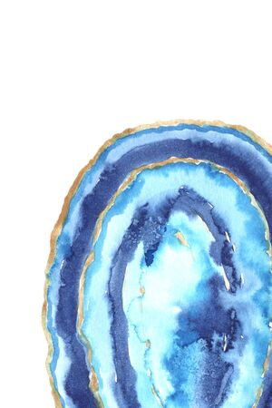 Template with bright hand painted watercolor agate slice in blue colors. Romantic decorative luxury mineral perfect for gretting and post card, banner and print poster design 版權商用圖片