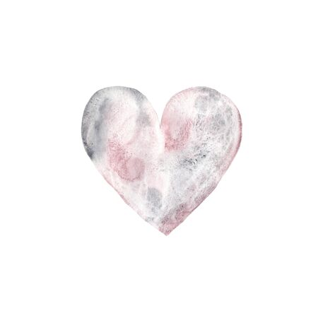 Watercolor hand painted gray heart isolated on white with granulation effect. Modern style love symbol illustration perfect for wedding invitation, Valentine's day card or romantic post cards Imagens
