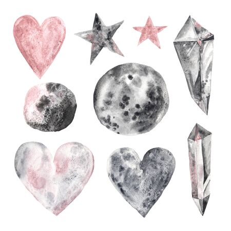 Watercolor hand painted magical stones and symbols isolated on white with granulation effect. Modern crystal, star, heart, moon perfect for wedding invitation, Valentines day card or  post cards Banco de Imagens