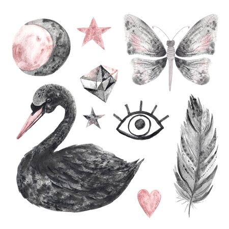 Watercolor hand painted magical black swan, gems and symbols isolated on white with granulation effect. Modern crystal, star, heart, moon perfect for wedding invitation, Valentines day card or  post cards Banco de Imagens