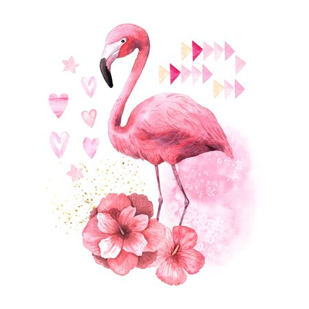 Watercolor tropical pink flamingo isolated with red hibiscus flowers, texture spot and gold strokes. Bright jungle exotic bird collage composition perfect for summer wedding invitation and  card making