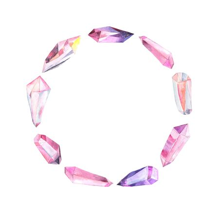 Round frame with bright hand painted watercolor crystals and gems in pink and violet colors. Romantic decorative blank wreath perfect for gretting card and wedding decor 版權商用圖片
