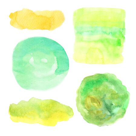 Watercolor hand painted decorative textured spots in light green and yellow color. Bright modern style abstract collection. Real trendy paint texture streak and paint brush strokes isolated on white Banco de Imagens