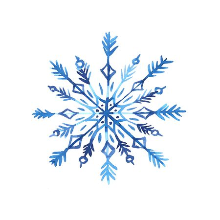 Watercolor hand painted tracery snowflake illustration. Bright winter holiday fall snowflake isolated on white backdrop. Perfect for textile fabric, decorative paper or christmas design