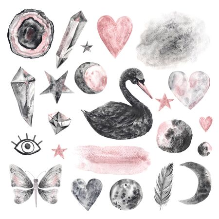 Watercolor hand painted magical black swan, gems and symbols isolated on white with granulation effect. Modern crystal, star, heart, moon perfect for wedding invitation, Valentines day card or  post