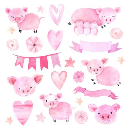 Watercolor cute pigs characters set isolated on white inspired by farm animals. Cartoon little piggy illustrations perfect for card making, birthday invitations and baby nursery design Stock fotó