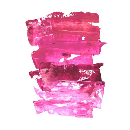 Acrylic hand painted decorative textured spot in bright pink color. Bright modern style abstract collection. Real trendy paint texture streak and paint brush strokes isolated on white