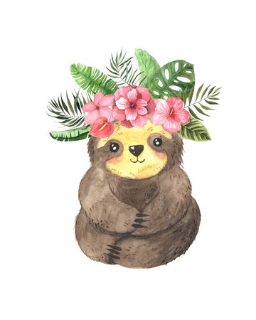 Watercolor hand painted cute sloth with exotic tropical flowers and leaves. Cartoon little baby animal illustration. Isolated character for greeting card, invites, poster, banner, print; nursery Stock fotó