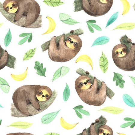 Seamless pattern with watercolor hand painted cute sloth hanging on the tree, green leaves and banana fruits. Cartoon little baby animal backdrop perfect for fabric textile or wrapping paper