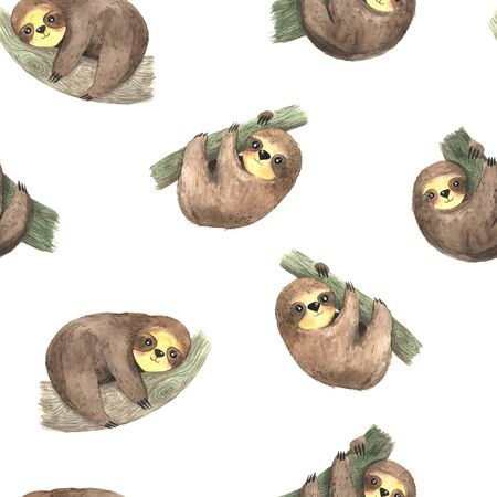 Seamless pattern with watercolor hand painted cute sloth hanging on the tree. Cartoon little baby animal backdrop in lazy style. Simple character print perfect for fabric textile or wrapping paper
