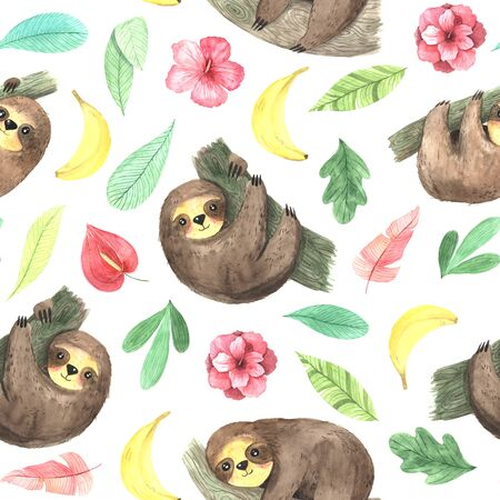 Seamless pattern with watercolor hand painted cute sloth hanging on the tree, green leaves and pink flowers. Cartoon little baby animal backdrop perfect for fabric textile or wrapping paper Stock fotó