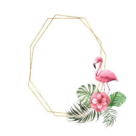 Watercolor tropic geometric frame with flowers, leaves and flamingo bird. Bright jungle exotic wreath perfect for summer wedding invitation and party card making Reklamní fotografie