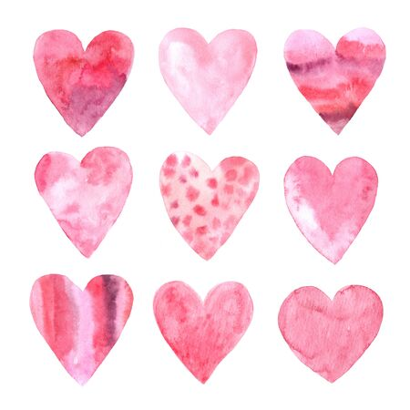 Set of hand painted pink and red watercolor hearts. Creative artistic Isolated objects perfect for Valentine's day card or romantic post cards