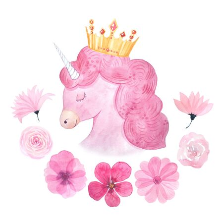 Watercolor cute set of unicorn and pink flowers illustration isolated inspired by baby fairytales. Magic trendy pink cartoon collection perfect for nursery print and poster design