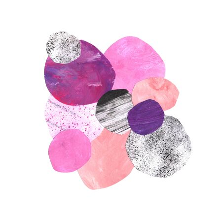 Artistic abstract collage composition with paint texture circles in pink, violet and gray colors. Acrylic mixed media modern application set for design