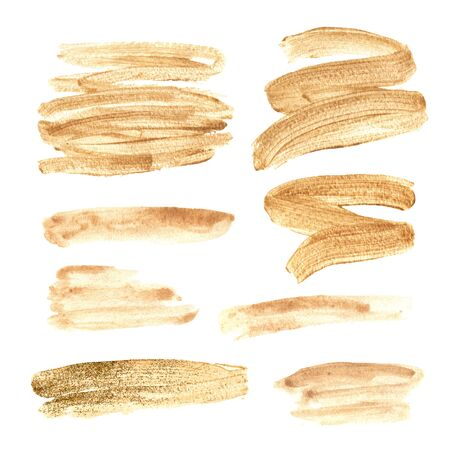 Watercolor hand painted gold textured brush strokes. Abstract trendy shiny elemnts isolated on white. Modern artistic design set