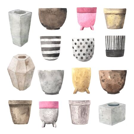 Set of watercolor decorative ceramic, concrete and clay flower pots. Hand painted house planter collection elements isolated on white background