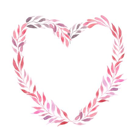 Watercolor floral heart frame with red and pink decorative branches. Blank Valentines day card or wedding invitation template Stockfoto