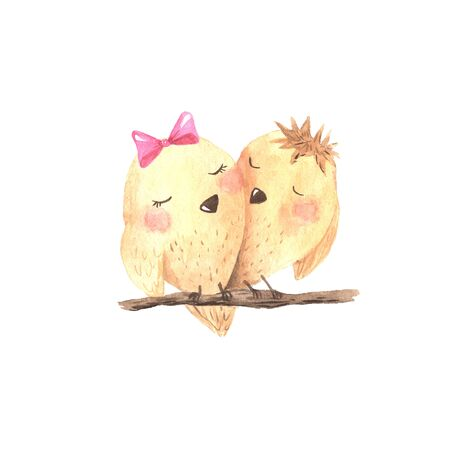 Watercolor cute cartoon little birds in wood branch isolated on white. Lovely holiday illustration perfect for scrapbook, card making, stickers