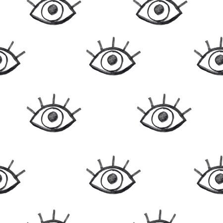 Watercolor hand painted creative seamless pattern with eye and eyelashes. Monochrome background perfect for fabric textile or wrapping paper