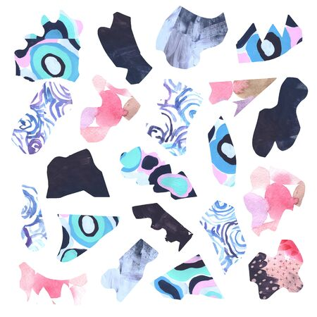 Artistic abstract collage set with cutout texture paper shaps in pink, violet, blue and gray colors. Acrylic mixed media modern application set for design and scrapbooking Reklamní fotografie