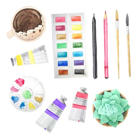 Watercolor hand painted artistic tools isolated on white. Paint tubes, palette, coffe cup, brushes and pen. Modern sketch watercolor style school icons collection