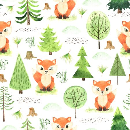 Seamless pattern with Watercolor forest cute cartoon fox, evergreen trees, florals, little stump. Autumn forest floral decorative background