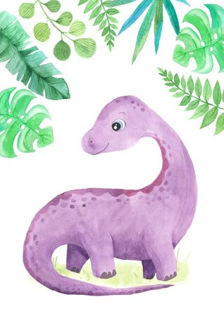 hand painted cute Diplodocus Dinosaur and green tropic leaf illustration. Cartoon childish prehistoric reptile in violet color. Perfect for baby kid nursery print and poster design