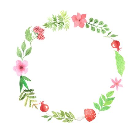 Frame with  red flowers, branches, orangel leaves, red ripe berries and other plants. Autumn forest floral decorative wreath  perfect for invitation card making