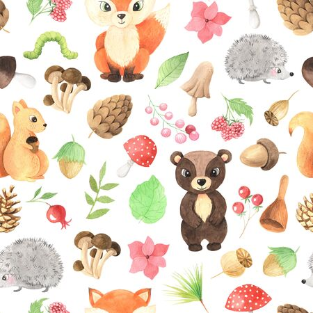 seamless pattern with cute fox, bear, squirrel, hedgehog and branches, leaves, flowers, berry and other plants. Natural autumn forest background ideal for baby fabric and wrapping paper