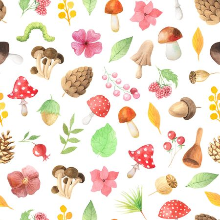 Seamless pattern with hand painted  autumn leaves, branches, mushrooms and berries inspired by forest. Romantic floral background perfect for fabric textile, vintage paper or scrapbooking