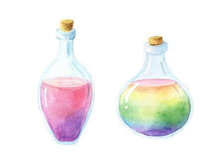 vintage magic bottles with rainbow potion. Cute cartoon flask with poison isolated on white perfect for print poster and card making Reklamní fotografie