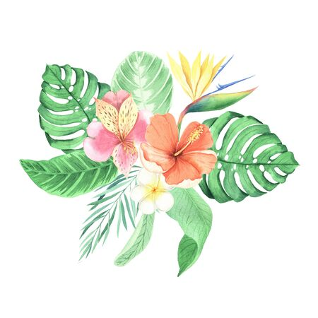Set of  hand painted tropical flowers, leaves and plants. Bright jungle exotic bouqoet perfect for summer wedding invitation and party card making