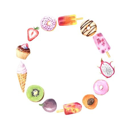 Round frame with hand painted  summer fruits, sweet dessert, cakes, ice cream . Chocolate donut, kiwi, dragon fruit, berry. Big exotic menu fresh wreath isolated on white