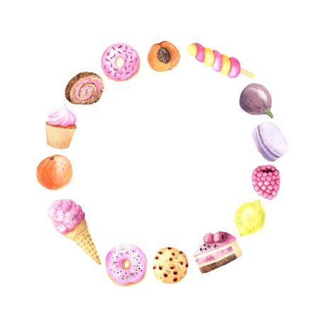 Round frame with hand painted  summer fruits, sweet dessert, cakes, ice cream . Glazed donuts, macaron, orange and berry. Big exotic menu fresh wreath isolated on white