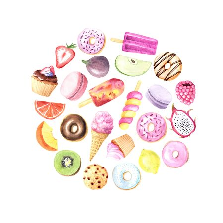 Set of hand painted  summer fruits, sweet dessert, cakes, ice cream . Chocolate donut, kiwi, dragon fruit, orange and berry. Big exotic menu fresh collection isolated on white Reklamní fotografie