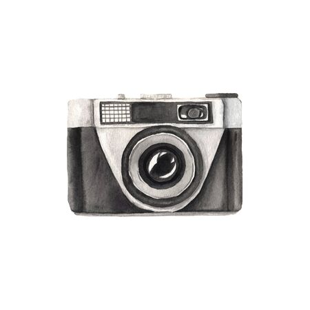 hand painted vintage photo camera isolated on white. Professional photography equipment in retro style. Clipart element perfect for  label design Reklamní fotografie
