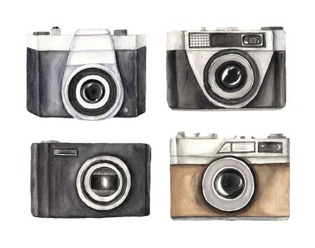 Set of  hand painted vintage photo cameras isolated on white. Professional photography equipments in retro style. Clipart element perfect for   label design Reklamní fotografie
