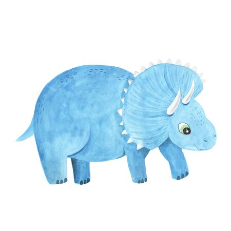 hand painted cute Triceratops dinosaur illustration isolated on white. Cartoon childish prehistoric reptile in blue color. Perfect for baby kid nursery print and poster design