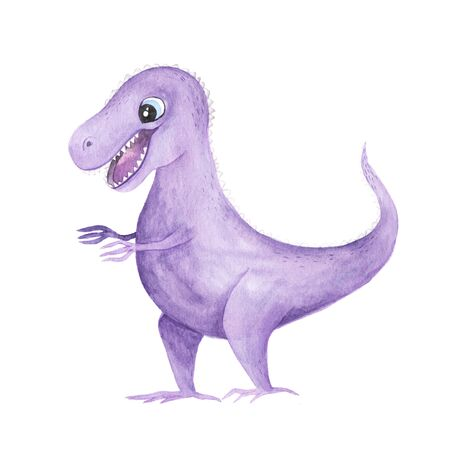 hand painted cute Tyrannosaurus Rex Dinosaur illustration isolated on white. Cartoon childish prehistoric reptile in violet color. Perfect for baby kid nursery print and poster design