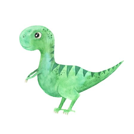 hand painted cute little Dinosaur illustration isolated on white. Cartoon childish prehistoric reptile in green color. Perfect for baby kid nursery print and poster design Reklamní fotografie