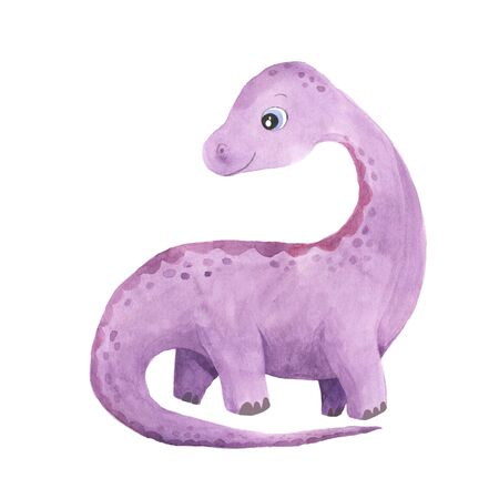 hand painted cute Diplodocus Dinosaur illustration isolated on white. Cartoon childish prehistoric reptile in violet color. Perfect for baby kid nursery print and poster design
