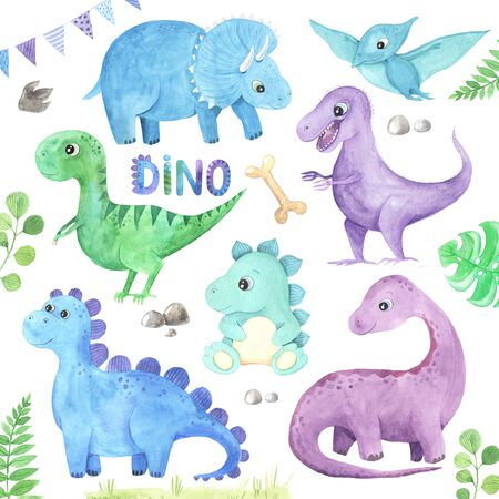Set of  hand painted cute little Dinosaurs illustration isolated on white. Cartoon childish prehistoric reptile in blue, green, violet color. Perfect for baby kid nursery print and poster